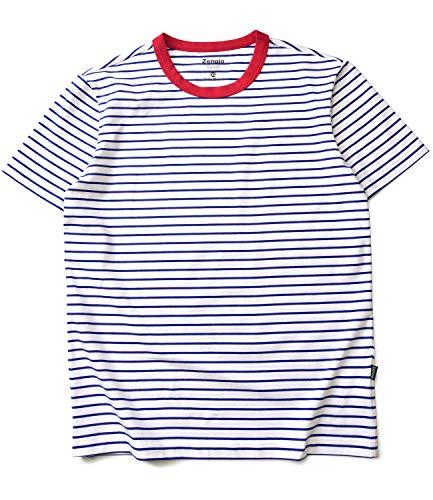 (Zengjo Stripe Shirt Men Short Sleeve Crew Neck Striped Cotton T Shirt Men(XS, White/Blue))