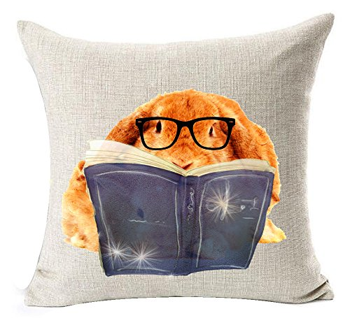 Nordic Ink Painting Watercolor Animal Adorable Funny Bunny Rabbit And Its Mother Wearing Glasses Reading Book Cotton Linen Throw Pillow Case Cushion Cover NEW Home Office Decorative Square 18 (Bunny Print)