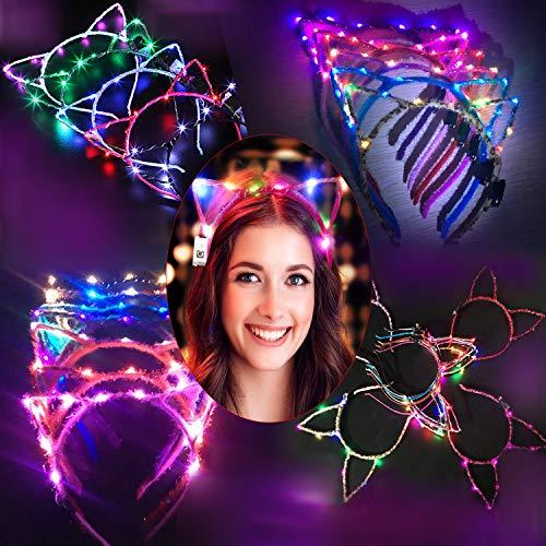 Light Up Halloween Headbands (LED Cat Ear Headband, Fascigirl 6 PCS Light Up Cat Ears Headband Cute Hairbands for Girls Adult Halloween Christmas Party Decorations Hair)