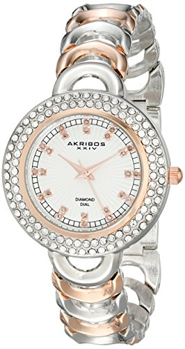 Akribos XXIV Women's AK804TTR Round Sunburst Lined Silver Dial Three Hand Quartz Movement Two Tone Bracelet Watch