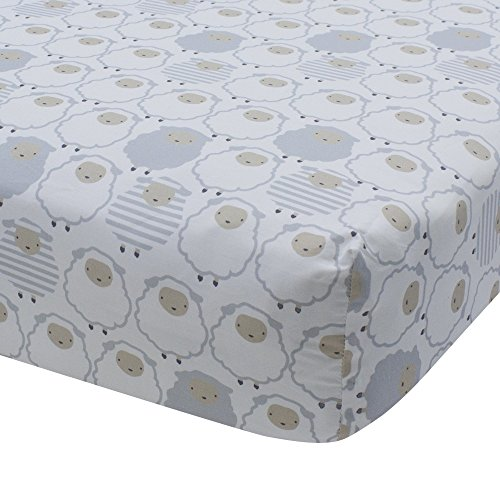 - Lambs & Ivy Goodnight Sheep Cotton Fitted Crib Sheet - White/Gray/Beige
