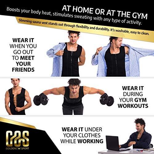 Goldenstarsport Sweat Vest for Men, Adjustable Sauna Vest for Men with Double Zipper, Workout Vest for Men, Mens Sauna Waist Trainer, Neoprene Vest Men 7