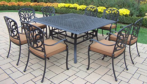 Oakland Living Hampton 9-Piece 60-Inch Square Dining Table Set with Sunbrella Cushions - Rust Free Aluminum Construction Hardened Powder Coat Finish for Years of Beauty Easy to Follow Assembly Instructions and Product Care Information - patio-furniture, dining-sets-patio-funiture, patio - 51wm9xSoEeL -