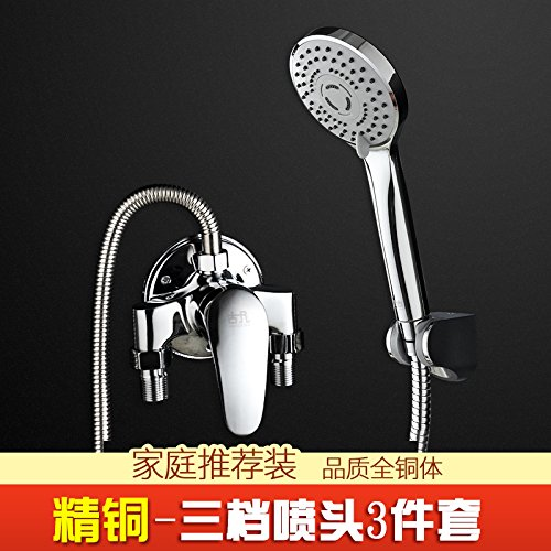 Full Copper Clear Faucet and Three Gear 3 Pieces JWLT Solar hybrid water mixing valve, water heater, shower faucet nozzle, switch hose, water pipe, hot and cold water faucet,Alloy section with 3 pieces of faucet and five gear