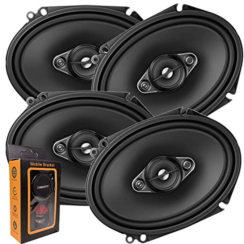 2 Pairs of Pioneer 5x7/ 6x8 Inch 4-Way 350 Watt Car Audio Speakers | TS-A6880F (4 Speakers) + Free Gravity Mobile Bracket Holder (Speakers 6x8 Stereo Car)