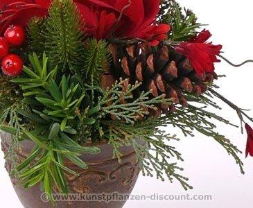 Auslauf Tischdeko Weihnachten Amaryllis Arrangement Hohe 25cm