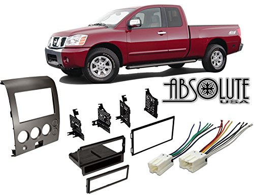 Absolute RADIOKITPKG1 Fits Nissan Titan 2004-2005 Double DIN Stereo Harness Radio Install Dash Kit
