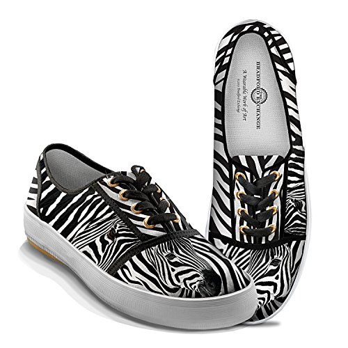 Zebra Luxe Women's Canvas Shoes With Zebra Print: 7 by The Bradford (Luxe Zebra)