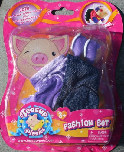 Teacup Piggies Fashion Set - Purple Velvet Shirt and Jeans Dress up Set