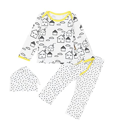 EKIMI Baby Boys Girls Outfit Clothes Long Sleeve Printing T-Shirt+Long Pants+Hat (12M)