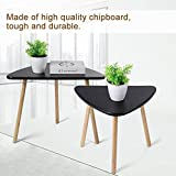 Ejoyous Nesting Coffee End Tables Modern Decor Side Table for Home and Office (White/Black Set of 2) (Black)