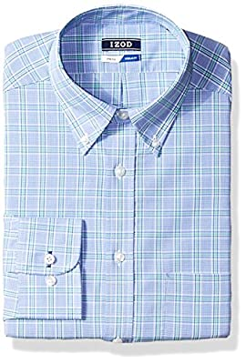 IZOD Men's Dress Shirts Regular Fit Stretch Plaid