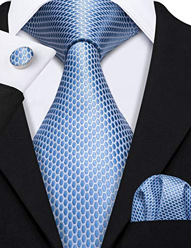 Barry.Wang Mens Blue Tie and Pocket Square Set Silk Necktie Cufflinks Extra Long Tie