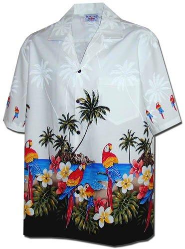 New Mens White Hawaiian Aloha Shirt Parrots Beach, 440-3468