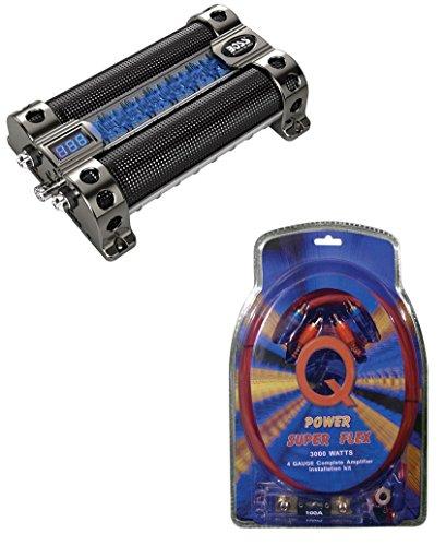 New BOSS CAP8 8 Farad LED Digital Car Power Capacitor Cap + 4 Gauge Wiring Kit