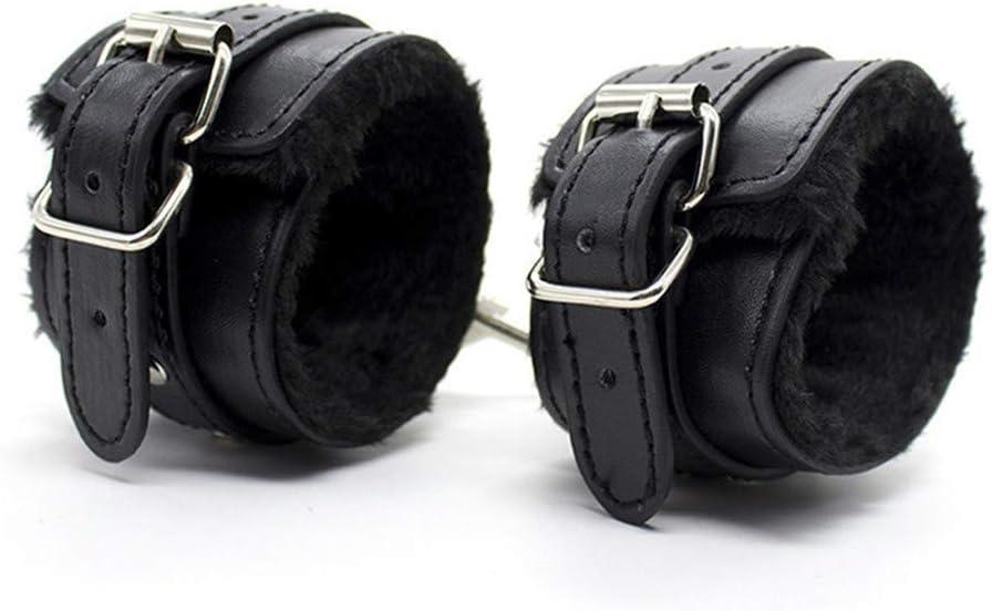 Dovior Soft Fur Leather Handcuffs Adjustable