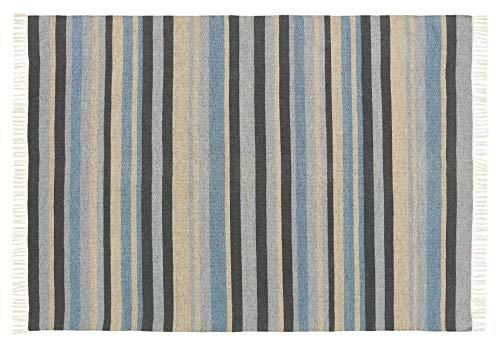 Lori Stripe Hand-woven 5' x 7' Wool Area Rug, Denim
