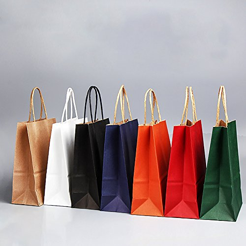 Jia Hu 15Pcs Quality Kraft Paper Bags with Handles Storage Gift Bag large for Shopping Shoes Party Black