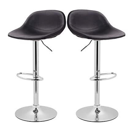 Adjustable Swivel Barstools with Back for Home Bar Kitchen Counter, New Modern Black PU Leather Hydraulic Bar Chair-Set of 2, Hold Up to 350lb