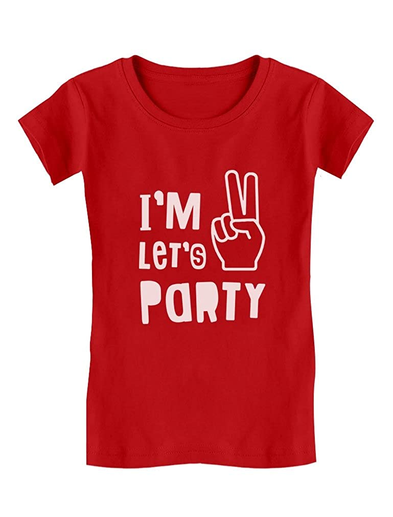 efe8f2b2 I'm Two Let's Party Cute 2nd Birthday Gift Toddler/Kids Girls' Fitted T- Shirt: Amazon.ca: Clothing & Accessories
