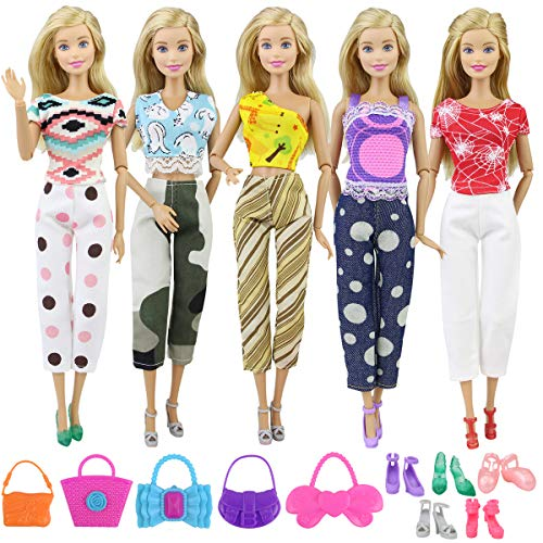 Ecore Fun Lot 15 Item Girl Doll Casual Clothes Outfits Accessories for 11.5 Inch Girl Doll | Affordable Set - 5 Clothes + 5 Shoes + 5 Bags | Birthday Reward Gift for Kid | Random Style ()