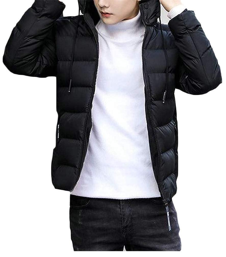 Hajotrawa Mens Hoodid Classic Thicken Quilted Pocket Drawstring Jacket Parka Coat