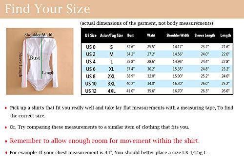 Soojun Womens Essential Long Sleeve Button Down Shirts Bodysuit ... 2237bdf64