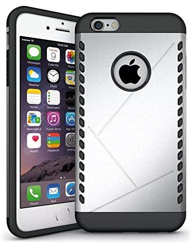 iPhone 6S Plus Case, Lantier Case Cool 2 en 1 double couche Combo souple TPU Bumper + PC Shell Shock Absorption Slip Case Slim mince Armure Anti pour Apple iPhone 6 Plus, iPhone 6S plus Aegis Argent