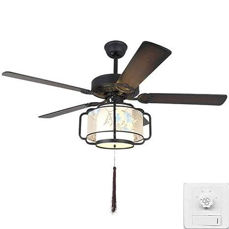 Ventilador de techo con iluminación de 130 cm, 5 hojas de ...