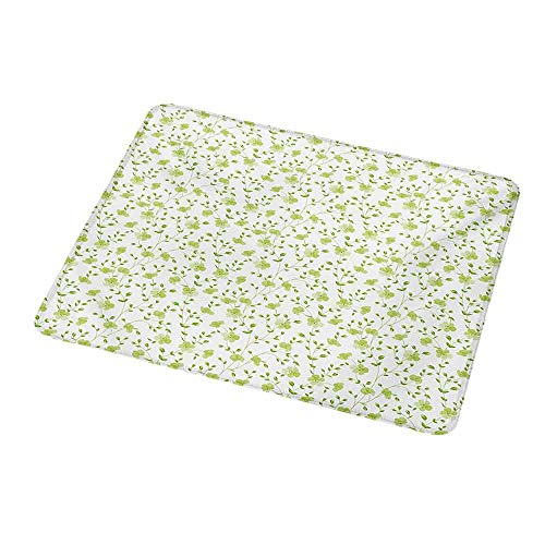 - Personalized Custom Gaming Mouse Pad Flower,Morning Garden Freshness Greenery Modern Old Fashioned Silhouette Artwork,Pale Green White,Personalized Design Non-Slip Rubber Mouse pad 9.8