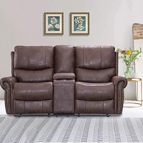 Recliner Sofa Love Seat Reclining Couch Sofa Leather Loveseat Home Theater Seating Manual Recliner Motion for Living Room