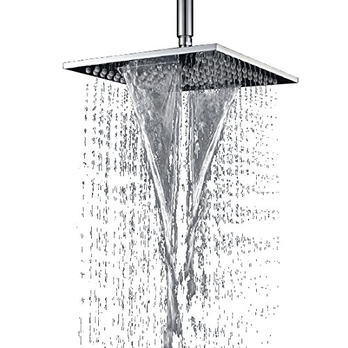 KunMai Solid Brass 10 Waterfall Square Fixed Rain Shower Head Two Functional in Chrome