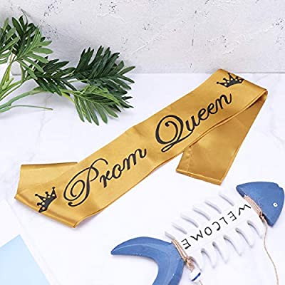 FENICAL 2Pcs King Queen Sash Halloween Graduation Party School Party Accessories: Toys & Games