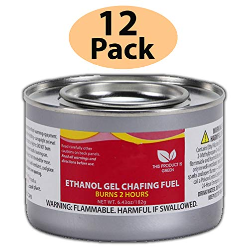 Chafing Dish Fuel Cans – Includes 12 Ethanol Gel Chafing Fuels, Burns for 2 Hours (6.43 OZ) for your Cooking, Food Warming, Buffet and Parties. by HeroFiber (Image #1)