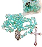 10 Pack of Aqua Faceted Communion Rosary Bulk Lot for Students Classroom Rosary Set