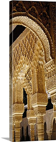 Great BIG Canvas Gallery-Wrapped Canvas entitled Low angle view of carving on arches and columns of a palace, Court Of Lions, Alhambra, Granada, Andalusia, Spain by greatBIGcanvas