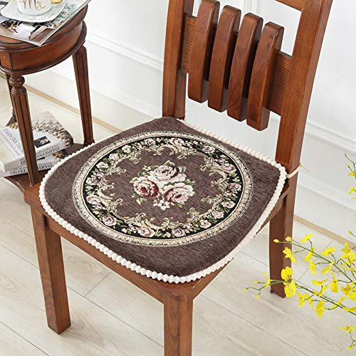 QTSL Embroidered Chinese Dining Chair Cushion,Non-Slip Square with Ties Chair pad-F 45x48cm(18x19inch) (Chair Embroidered Pads)