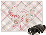 RNK Shops Modern Plaid & Floral Minky Dog Blanket - Regular (Personalized)