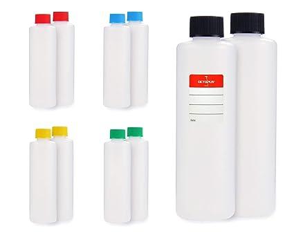 10 botellas de plástico de Octopus de 250 ml, botellas de plástico de HDPE con