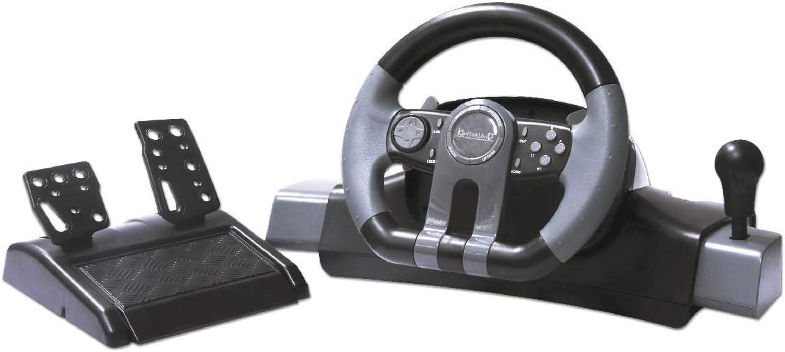 Kontorland PS-4100 mando y volante Volante + Pedales PC, PlayStation 4, Playstation 3 Negro, Gris - Volante/mando (Volante + Pedales, PC, PlayStation 4, Playstation 3, Alámbrico, USB, Negro, Gris): Amazon.es: Videojuegos