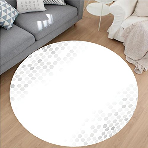 Four Cornered Circle (Nalahome Modern Flannel Microfiber Non-Slip Machine Washable Round Area Rug-bstract Beam with Geometric Six Cornered Mosaic Style Futuristic Artsy Illustration White area rugs Home Decor-Round 79