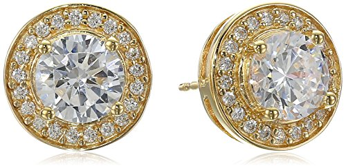 Cubic Zirconia Round Halo Earrings