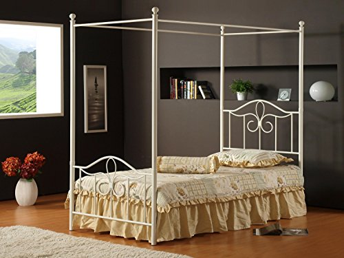 Hillsdale Westfield Metal Canopy Bed Off White