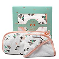 Land of the Wee Bamboo Hooded Baby Towel & Washcloth| 40% More Absorbent Than...