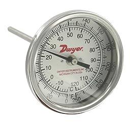 Dwyer Bimetal Thermometer, BTB2405D, 0-250°F (-20-120°C), 2\