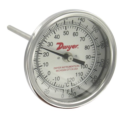 Dwyer Bimetal Thermometer, BTB3255D, 0-250°F (-20-120°C), 3'' Dial, 2-1/2'' Stem, Back Connection by Dwyer