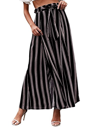 - BerryGo Women's BohoHighWaistSplitStripeWideLegPants Black Stripe,M