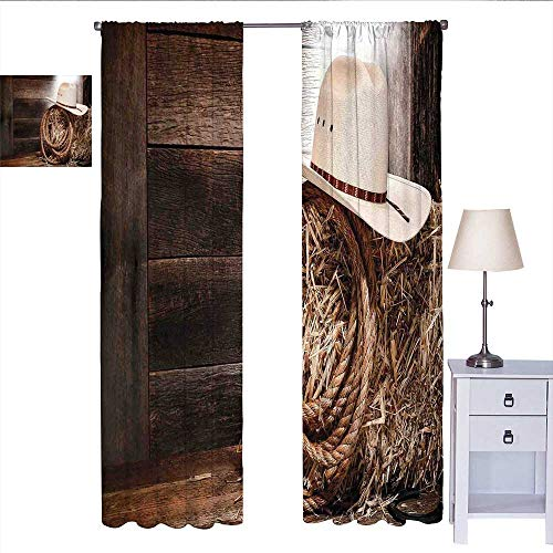 Western Bedroom Curtains American West Rodeo Hat with Traditional Ranching  Robe on Wooden Ground Folk Art Photo Wall Curtain Brown Beige W72 x L96