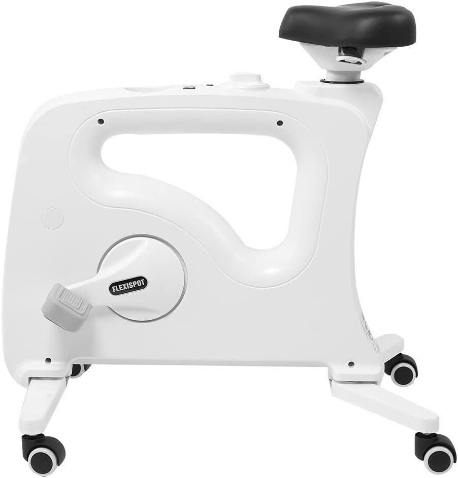 FlexiSpot Under Desk Bike Home Office Exercise Bike Height Adjustable Indoor Fitness Desk Cycle Deskcise Pro White