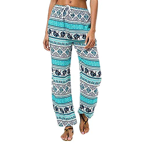 Sunmoot Clearance Sale Pajama Pants for Womens Print Wide Leg Pants Stretch Drawstring Palazzo Casual Loose Trousers